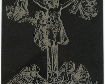 Jesus with Angels on Black Polished Marble