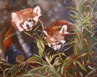 Portrait of two red pandas, Original Oil Painting by Anne Zamo