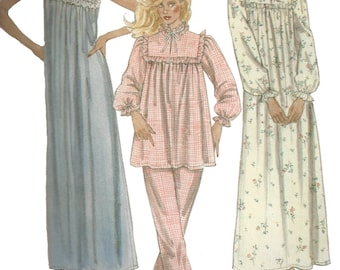 1980s Nightgown Pattern Pajamas Ruffled Yoke McCall's Vintage Sewing Women's Misses Size Petite  6 - 8 Bust 30. 5 - 31. 5 Inches