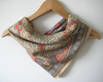 Vintage Scarf Silk Beige Pale Blue Red Hand Rolled Edges Silk Vintage Scarf
