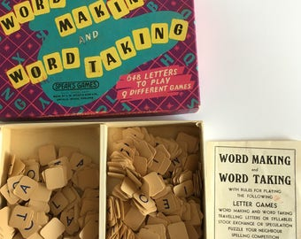 Vintage letters, word games, Spear's Word Making and word taking.