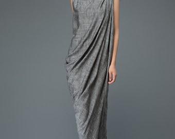 Linen Dress, gray linen dress, linen hip dress,  plus size dress, woman dress, linen dress for woman, party dress, linen dress woman (C923)