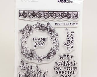 KaiserCraft Sage and Grace Collection Clear Stamps -- Acrylic -- Floral Wreath