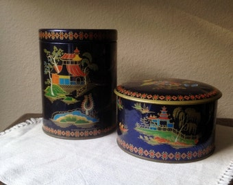 Two Vintage Asian Inspired Tins Made in England