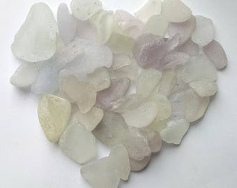 5.5 oz - white natural sea glass- Extra-large
