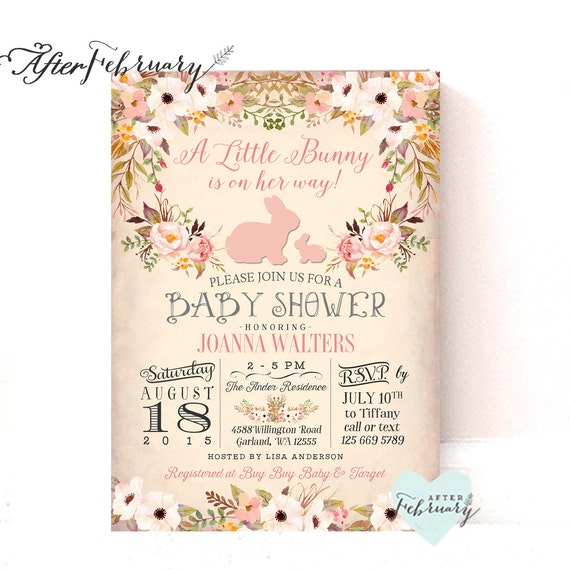 Bunny Baby Shower Invitation Easter Baby Shower Invitation