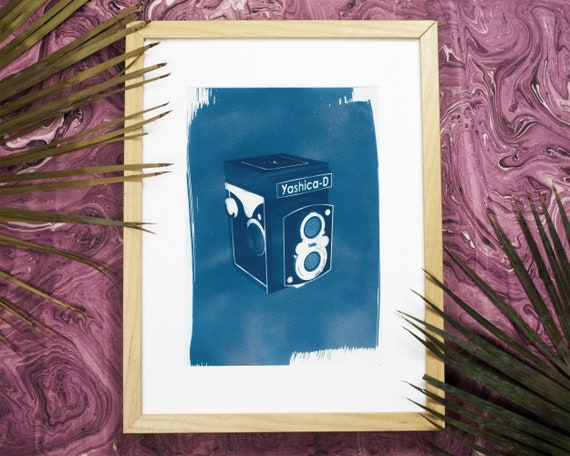 Yashica Twin-Lens Medium Format Camera 3d Render, Cyanotype Print, A4 size (Limited Edition)