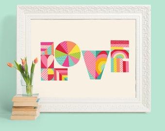 Love Rainbow Heart Art Print, kid's wall art, tween wall art, teen wall poster, kid's room decor, playroom wall art, birthday gift