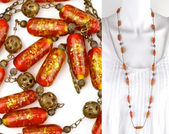 "1920s art glass necklace 38"" long 