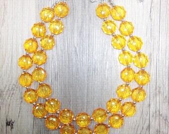 Radiant Orange Double Strand statement necklace - pretty big beaded chunky jewelry