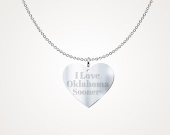 I Love The Oklahoma Sooners Sterling Silver Necklace Pendant College Jewelry