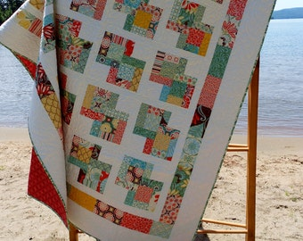 Quilt Pattern -  Danish Delights Layer Cake Quilt Pattern 3 Sizes Quick, Easy -  PDF INSTANT DOWNLOAD