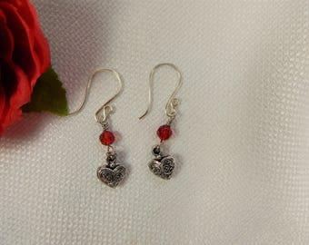 Heart Charm and Crystal Earrings (V6)