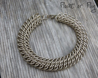 Half Persian Sheet Chain Maille Cuff Bracelet - Sterling Silver