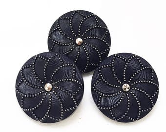 vintage eco friendly pristine textured black glass with silver trim flower design--matching lot of 3
