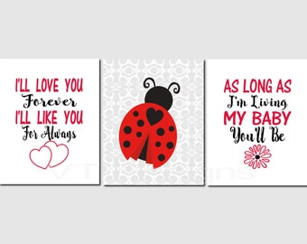 Ladybug Wall Art, Baby Girl Nursery, Kids Wall Art, I'll Love You Forever, Baby Girl, Black Red Nursery Decor, Set of 3, Prints or Canvas