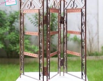 """1 earring display """"triple folding"""", copper metal"""