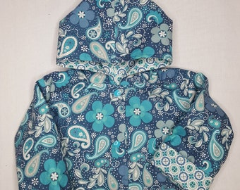 jacket reversible hooded baby jacket girls baby shower gift size 18 months teal floral spring jacket toddler