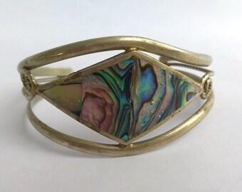 Vintage Mexican Alpaca Silver Abalone Cuff Bracelet. Open Work Mexican Shell Cuff Bracelet, Signed Mexico Silver Abalone Bracelet.