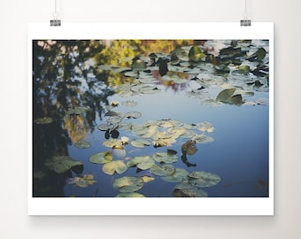 Giverny photograph, Monets garden, yellow lily photograph, lily pond, France photography, French decor, large wall art