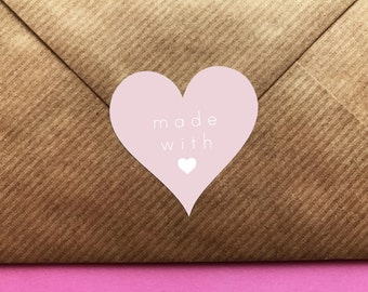 Made With Love Stickers, Handmade With Love Stickers, Heart Stickers, Handmade Labels, Wedding Stickers, Wedding Favor Labels, Pink Stickers