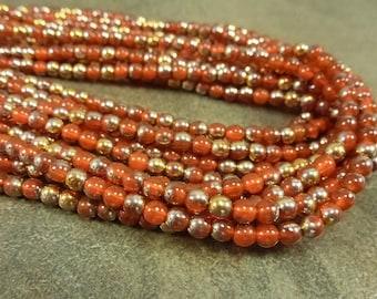 Orange Opal/Gold Marea Czech Pressed Glass Druk 4mm 100pc Strand Round Beads
