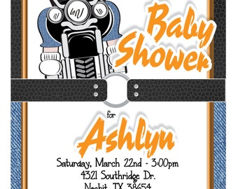 Custom Baby On Motorcycle Baby Shower Invitation In Denim U0026 Leather