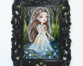 Fantasy Art Painting - Ghost of Ophelia - Framed original painting, Big Eye, Lowbrow, Nursery Decor Shakespeare