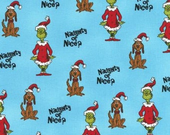 Robert Kaufman Dr. Seuss How The Grinch Stole Christmas Blue Fabric - 1 yard