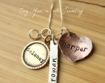 Hand Stamped Mothers Necklace, Name necklace with mixed metals, Sterling Silver, Gold Colored Brass, Copper Necklace, Three Kids
