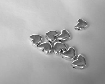 10 small hearts dishes thick CADMIUM-free zinc alloy