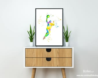Printable Wall Print, Watercolor Print, Basketball Print, Basketball Player, Art Print, Sport Wall Art Print, Instant Download, Wall Decor