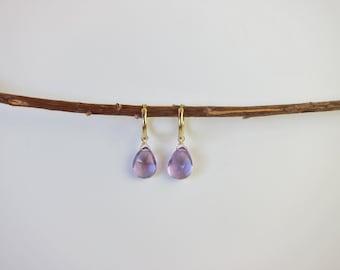 Purple Amethyst 14K Gold Handmade Earrings