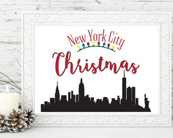 PRINTABLE: New York City Christmas - Great Holiday Gift Ideas Teacher Gift NYC Skyline, Christmas gift, Christmas decoration home decor