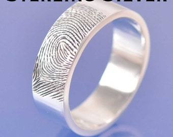 Fingerprint Ring. Sterling Silver