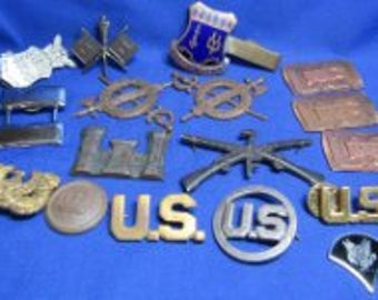 Antique WWI Army Engineer & Inspector General Officer Insignia Lot Of 19 ******1900-1915*****