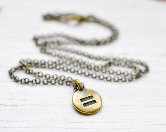 Antiqued Brass Equal Sign Necklace, Meditation Necklace, Equality Necklace, Yoga Necklace, Equal Rights, Delicate Chain, Pride Equality Now