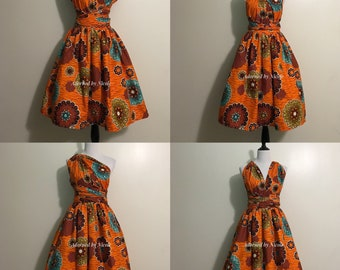 Orange Floral Infinity Dress-African Print