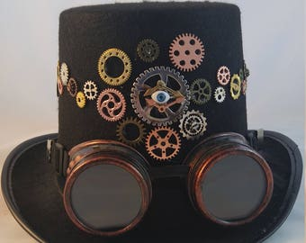 Gears and Eyes: Steampunk Top Hat with Goggles