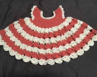Crochet Baby Dress- salmon stripe (3-6 months)