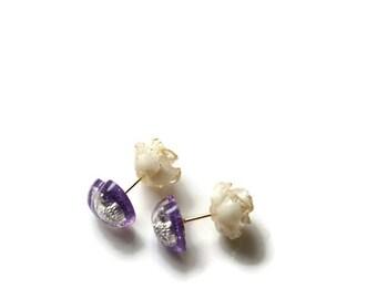 Double sided earrings, rose earrings, resin earrings, heart earrings, double earrings, purple jewelry, gift for her, gift for friend,