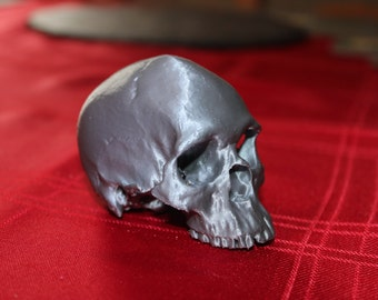 Miniature Human Skull, highly detailed and 3D Printed, available in a range of colours. FREE UK Delivery