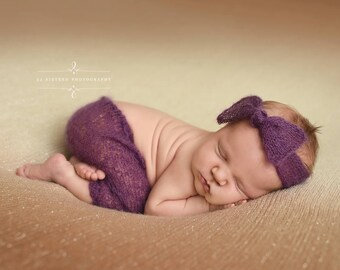 Purple Wide Bow Mohair Headband Newborn Photography