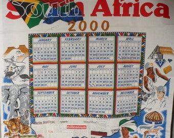 Millennial Cotton Fabric Calendar from SOUTH AFRICA/Made in South Africa/Year 2000 Cotton Fabric Calendar from South Africa/4 Sewing Project