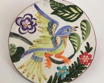 Blue Green Bird Plate