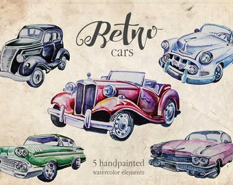 Watercolor Retro Cars Clipart SetRetro VehiclesVintage CarsTraveling Clipart50s