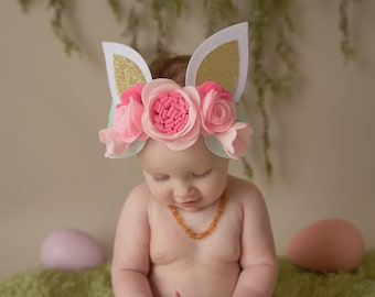 Bunny Ear Headband for Girl - some bunny is one, bunny first birthday, bunny ear flowers, bunny ear headband, pink gold bunny, floral crown