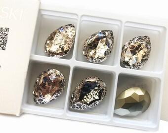 1pc, Genuine Swarovski 40mm Fancy Stone Crystal Gold Patina (golpa)