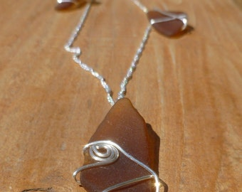 """Authentic Brown Beach Glass 30"""" sterling silver necklace"""