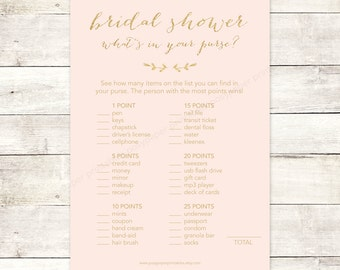 bridal shower game what's in your purse printable blush pink gold glitter wedding shower digital games - INSTANT DOWNLOAD
